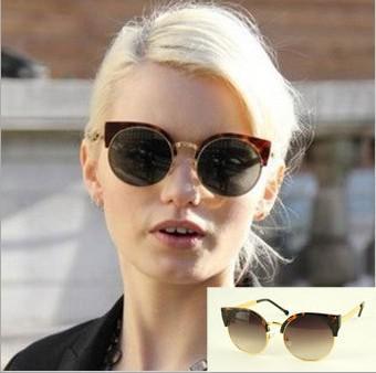 33677c14132da 2013 Super Metal Half Frame Sunglasses Women Men s Sunglasses Glasses Black  Gold Silver Coffee 8762 Round Glasses Designer Glasses From Surmounts2012