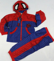 Wholesale Tench Coats Men - Red 3-7 years kid's Two pieces&cap spider-man Sportswear sports Dust coat,boy's spider-man Dust coat