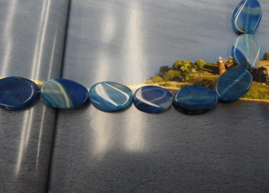 Piedras preciosas naturales Piedras semipreciosas Joyería DIY Ágata azul 20 mm * 30 mm 1 cadena al por mayor