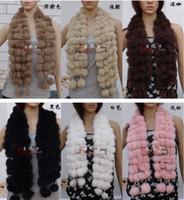 Wholesale Wholesale Rabbit Ball Scarves - 10pcs Women's Fur Scarves 100% Fur Ball velvet Rabbit Long style Woman Winter 2012 white Scarves