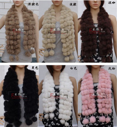 Wholesale Scarves Balls - 10pcs Women's Fur Scarves 100% Fur Ball velvet Rabbit Long style Woman Winter 2012 white Scarves