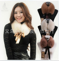 Wholesale Wholesale Black Square Scarf - 2012 Raccoon Fur Collar Women's Neck Warmers Fur Scarf Shawl Big size Shearling Bow square Down Coat