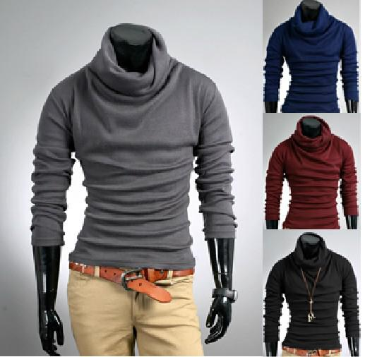 2018 Mew Mens Slim Fit Base Turtle Neck Plain Sweaters Sweater ...