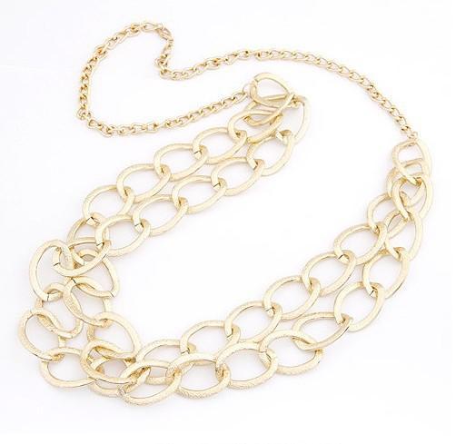 Fashion Circle Link Doble Cadena Collar Estilo estrella Nueva Declaración de estilo europeo Collar chapado en oro para mujeres