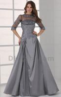 Wholesale Taffeta Long Dress Grey - 2015 A Line Grey Evening Dresses Elbow Detachabe Emboridery Beaded Taffeta Sweep Train MZ056 Dhyz 01
