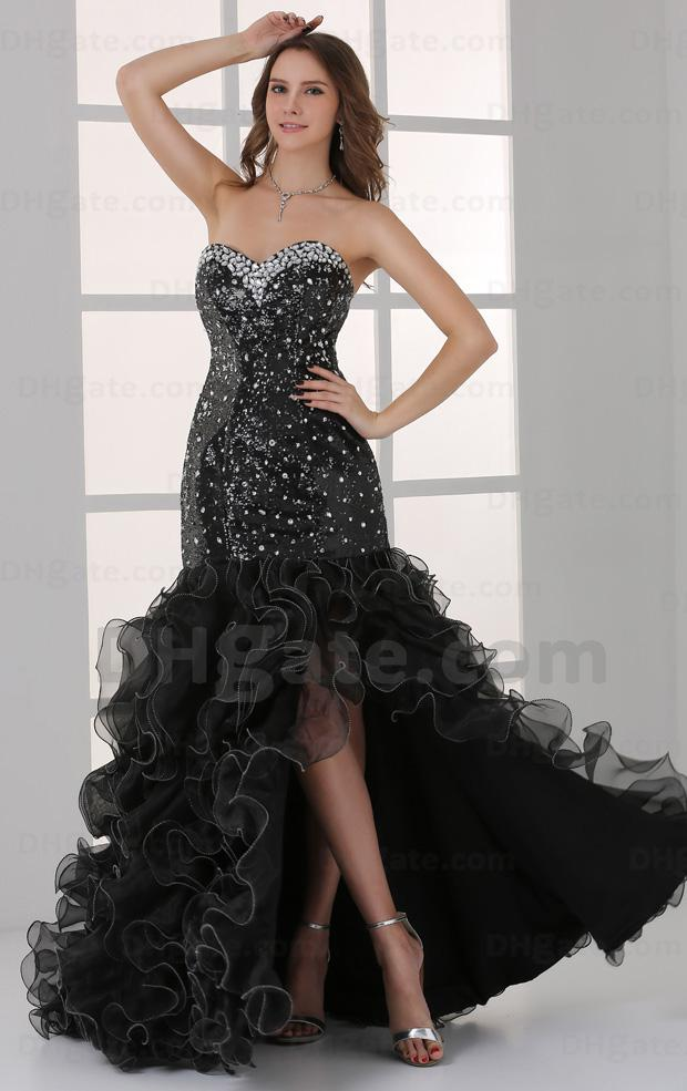 2015 Sexy Black Mermaid Hi Lo Prom Dresses Organza Multi Layered ...