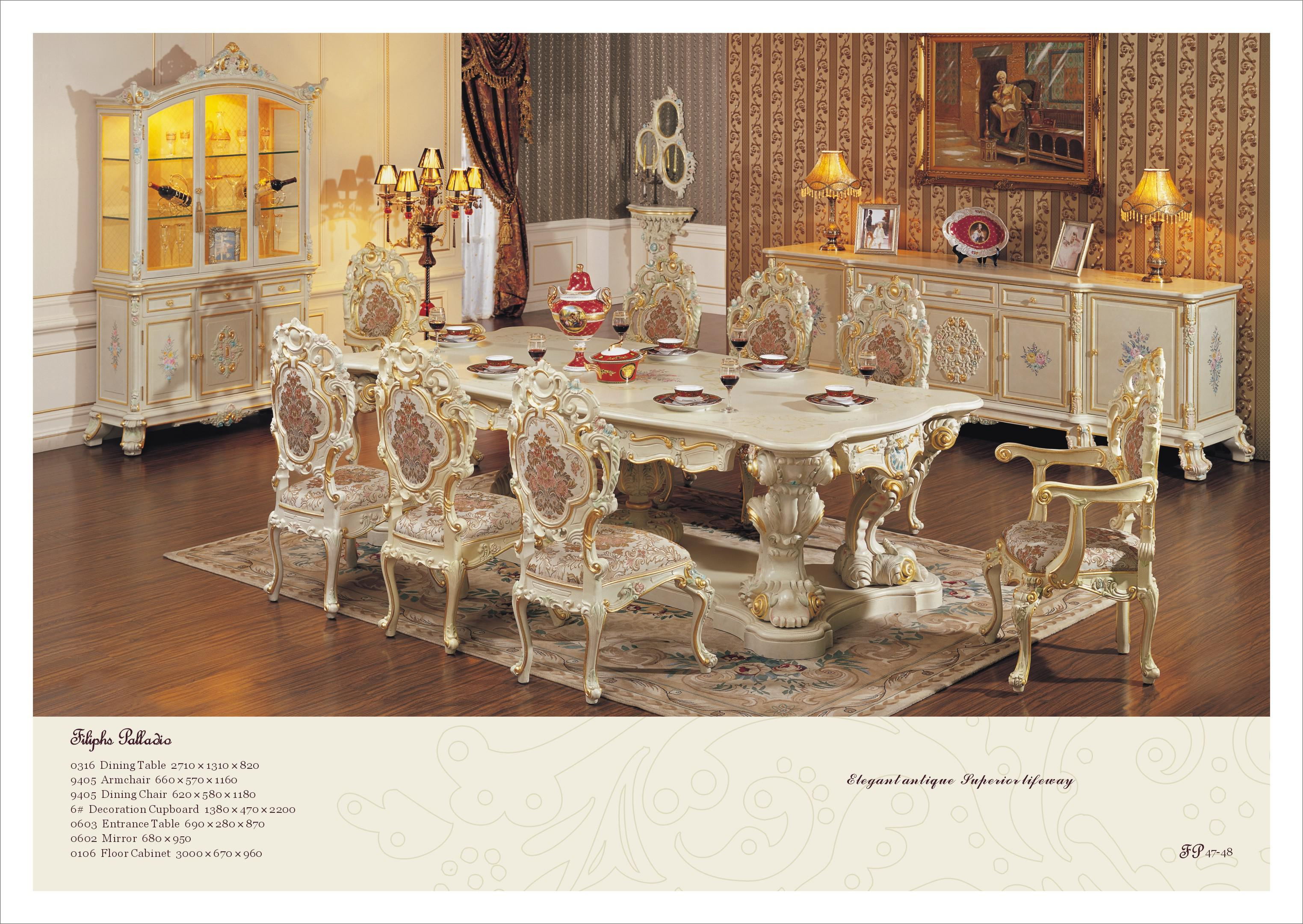Hand Carving Leaf Gilding Dining Room Set Antique Classic Reion French Style Chair Furniture Palace