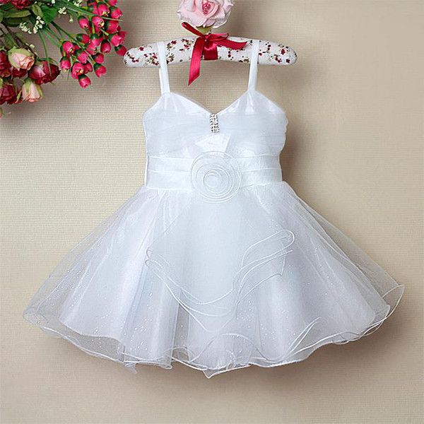 2016 New Baby Girl White Party Dress With Diamond Girl Dance ...
