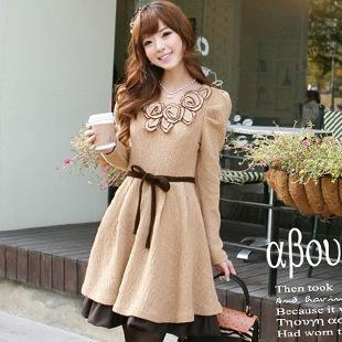 Korea Style Women Autumn Dresses Roundneck Long Sleeve Slim Dress A