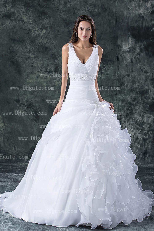 2013 New Sexy V-neck Ruffles Organza Beaded A-line Wedding Dresses BO000105