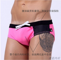 Wholesale Triangle Swimwear Men - 6 Colors New WJ Brand Men sexy Swim Shorts Swim Briefs Swimwear Mens Boxer Briefs Sexy Hot Spring Triangle Swimsuit Shorts WJ 7204