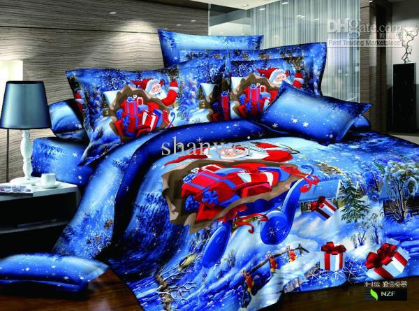 christmas gifts santa blue bedding set queen bed sheet set duvet cover set bed linen free ship king bedding green bedding from shanwei dhgatecom