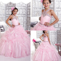 Wholesale Sequence Hunter Gowns - 2015 New shining sequence beaded halter pleated tiered ruched full length prom gowns Little Girls Pageant Dress Flower Girls Dress DM-515