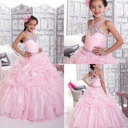 Wholesale Shining Light Flowers - 2015 New shining sequence beaded halter pleated tiered ruched full length prom gowns Little Girls Pageant Dress Flower Girls Dress DM-515