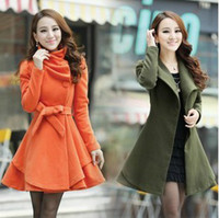 Wholesale Coats Buttons Belt - New Womens wool coat slim long tunic dress coats shoulder strap epaulet outerwear with waistband belt
