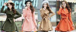 Wholesale Womens Orange Coats - New Womens wool coat slim long tunic dress coats shoulder strap epaulet outerwear with waistband belt