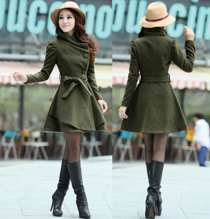 Nouveau manteau de laine Womens slim tunique longue robe manteau bandoulière épaulette survêtement avec ceinture