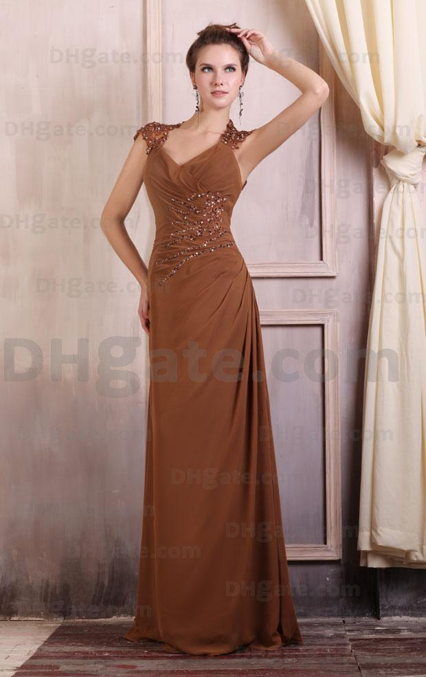 2013 Vogue Brown Sheath Mother Of Bride Dresses Cup Sleeve ...