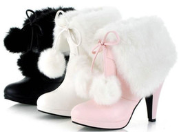 Wholesale Stiletto Heel Fur Boots - Winter Sweet fur ball keep warm high heels bridesmaid warm snow Boot short Boots 34-43