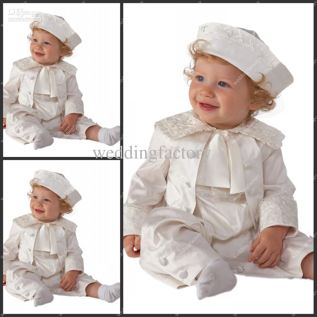Babies Rompers Ankle Length Taffeta White Ivory Champagne Boys First  Communion Gowns Christening Clothes With Hat Baptism Suits Dresses 50s  Style Dresses ... 940a6b1b865