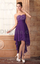 Robes De Retour Simples Sweetheart Pas Cher-2015 Purple Hi Lo Ruched Jupe Robes de cocktail Chiffon plissé Sweetheart Homecoming Robes HW072