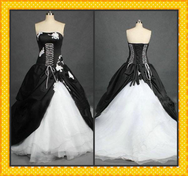 Gothic Wedding Dresses 2016 A Line Strapless Black Taffeta: 2015 Hot Real Strapless White Black Appliqued A-line