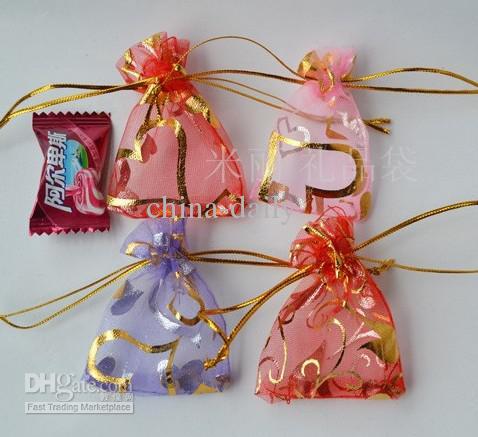Freies Schiff 400 stücke Mixed 5 * 7 cm Organza Voile Stempeln Gold Schmuck Taschen Hochzeit Süßigkeiten Geschenk-taschen