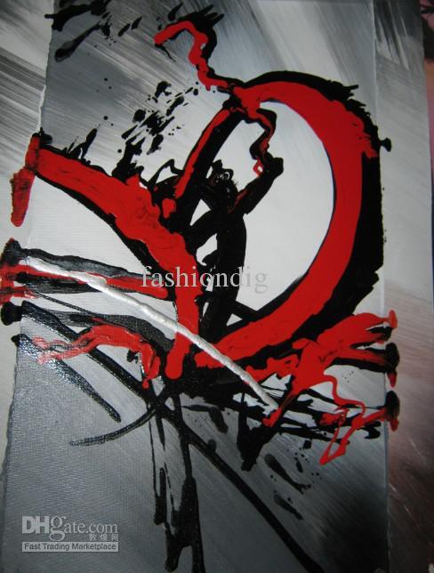 Uitgerekt rood grijze eigentijdse abstracte olieverfschilderij op canvas kunstwerk handgemaakte thuiskantoor hotel decoratie wall art decor gift gratis schip