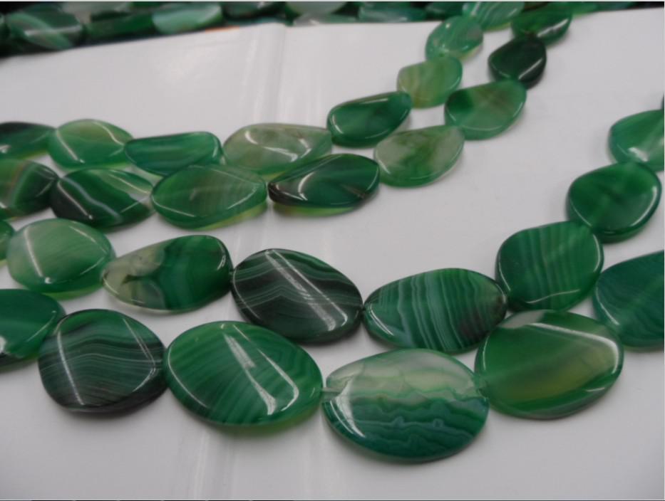 100 % 천연 마노 천연 보석 세미 - 귀중 한 돌 DIY 보석 천연 녹색 마노 혼합 느슨한 구슬 20 mm * 30 mm; 30 개 / 개