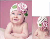 Wholesale Beret Hat Children - children knitted hats, baby flower princess knit hat, kids beret hat (4 colors), 10pcs lot