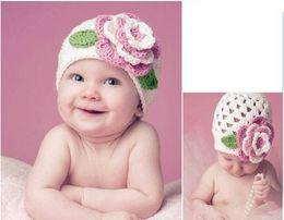 Wholesale Beret Hat Kids - children knitted hats, baby flower princess knit hat, kids beret hat (4 colors), 10pcs lot