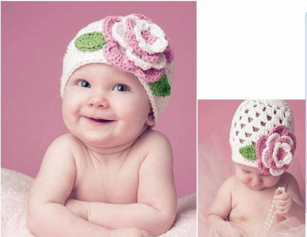 children knitted hats, baby flower princess knit hat, kids beret hat (4 colors), 10pcs/lot