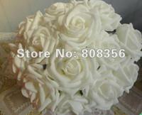 Wholesale Single Stem Rose Flower - WHITE Color 100pcs Dia.8cm Artificial Simulation PE Foam EVA Single Stem Camellia Rose Flower Party Decorative Flowers