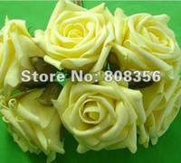 kamelien gelb großhandel-Gelb 100er Durchmesser 8 cm Künstliche Simulation PE Schaum EVA Kamelie Rose Pfingstrose Blume Hochzeit Chistmas Party Dekoration