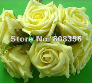 Wholesale Yellow Dia cm Artificial Simulation PE Foam EVA Camellia Rose Peony Flower Wedding Chistmas Party Decoration