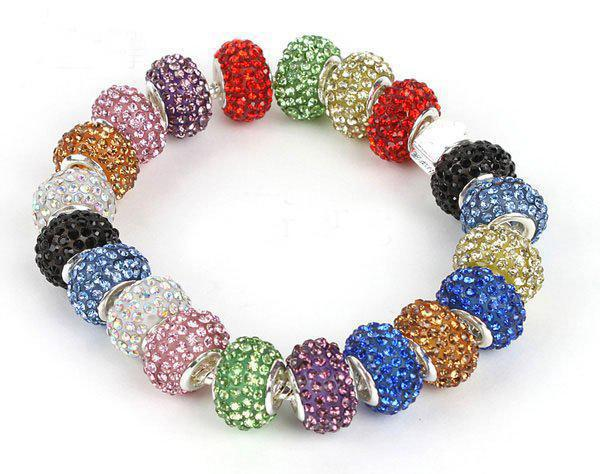 120pcs 14MM Multicolor Resin Rhinestone Beads Silver Plated Core Crystal Loose Beads Fit Braceles