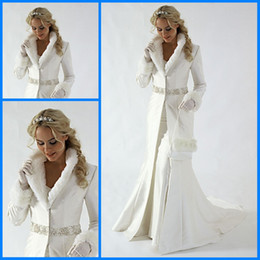 Wholesale Long Dress Winter Bridal Coats - 2014 Hot Style Classical Christmas Bridal Dress White Mermaid Beads Satin Winter Wedding Dress Coat