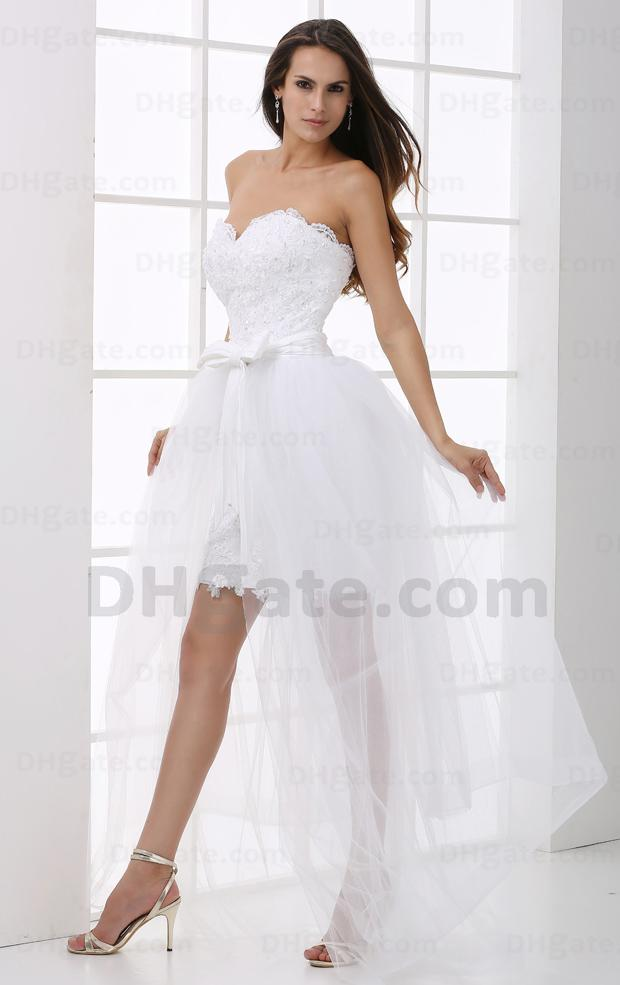 2013 White Mini Lace Fabric Wedding Dresses Tulle Detachable Train ...