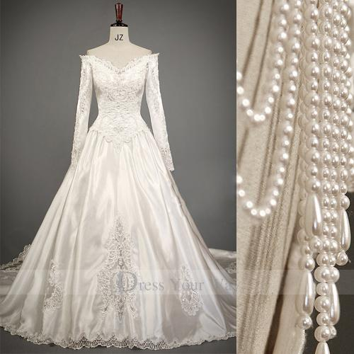 Discount Romantic 2014 Cathedral Train Long Sleeves Wedding Dresses ...