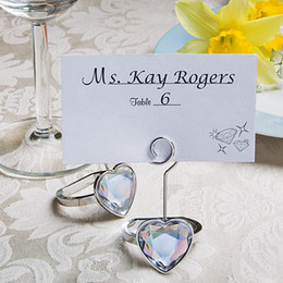 Wholesale Engagement Ring Holders - Heart Shaped Engagement Ring Place Card Holders Wedding Favors Hot