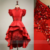 Wholesale Champagne Party Bubbles - 2015 Real Image Chinese Style Red New High Collar Sexy Wedding Dress Hi-Lo A-line Short Party Dresses Bubble Sleeves Gown Dhyz