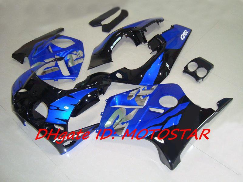 Gratis Custom Blue Black Bodywork för Honda CBR250RR MC19 1987 1989 CBR 250RR 87 88 89 CBR250 Fairing Kit