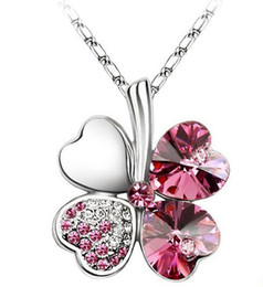 Wholesale Petal Flower Necklace - 20pcs 8colors petal necklace Four Leaf Clover crystal rhinestone necklace 50cm