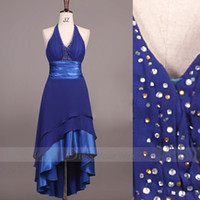 Wholesale Custom Drills - 2015 Royal Blue Prom Dresses Sexy Halter neckline Hi-Lo Spandex Pleats Hot Drilling Gowns Dhyz