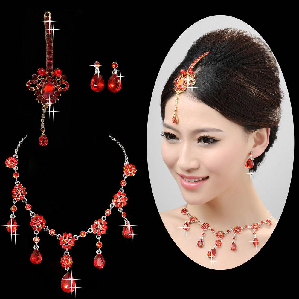 Modern Indian Bride Hairstyle: 2015 Charming Indian Style Bridal Jewelry Rhinestone Red