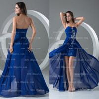 Wholesale Mini Water Colour - Real Sample Royal Blue Colour Hi-Lo Chiffon Strapless Beading Fashion Prom Cocktail dress CK052