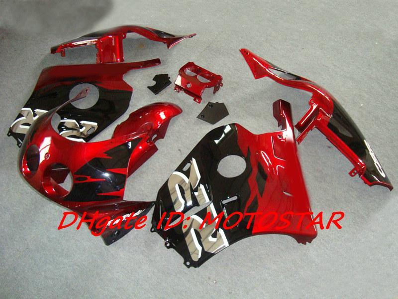 Red Black Fairings Kit för Honda CBR 250RR MC22 1991-1998 CBR250RR CBR250 91-98 MC 22 ABS-karosseri