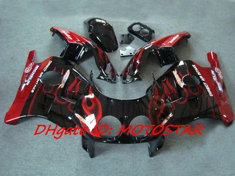 Carenagens da Chama Vermelha para Honda CBR 250RR MC22 1991-1998 CBR250RR CBR250 91-98 MC 22 peças da motocicleta
