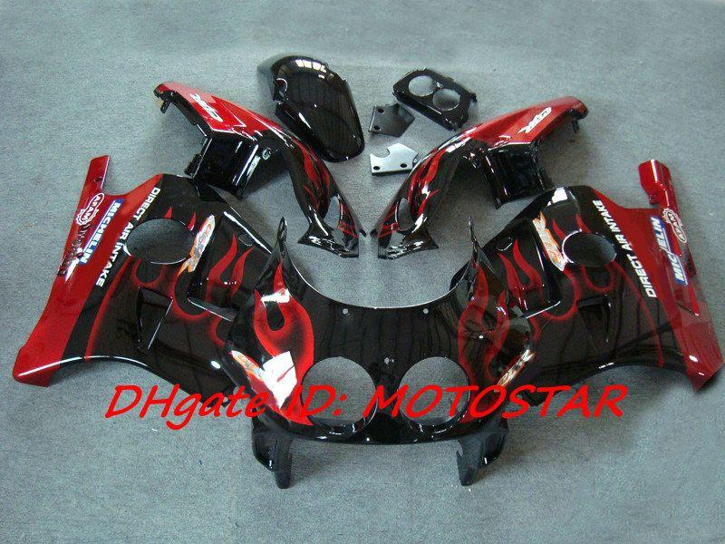 Red Flame Fairings för Honda CBR 250RR MC22 1991-1998 CBR250RR CBR250 91-98 MC 22 Motorcykeldelar
