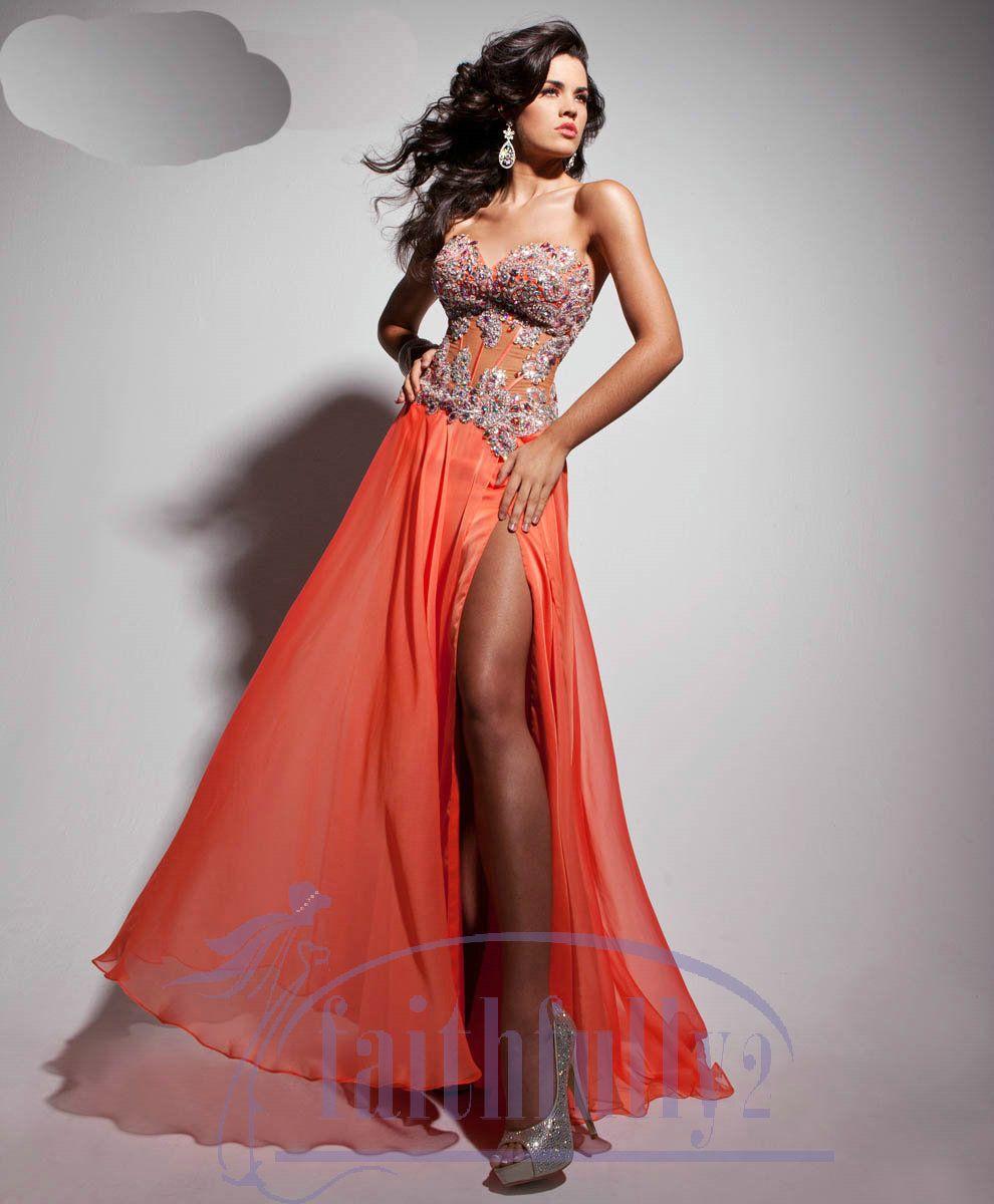 Hot Sell Sheath Prom Dress Corset Bodice Sheer Sweetheart Bold ...